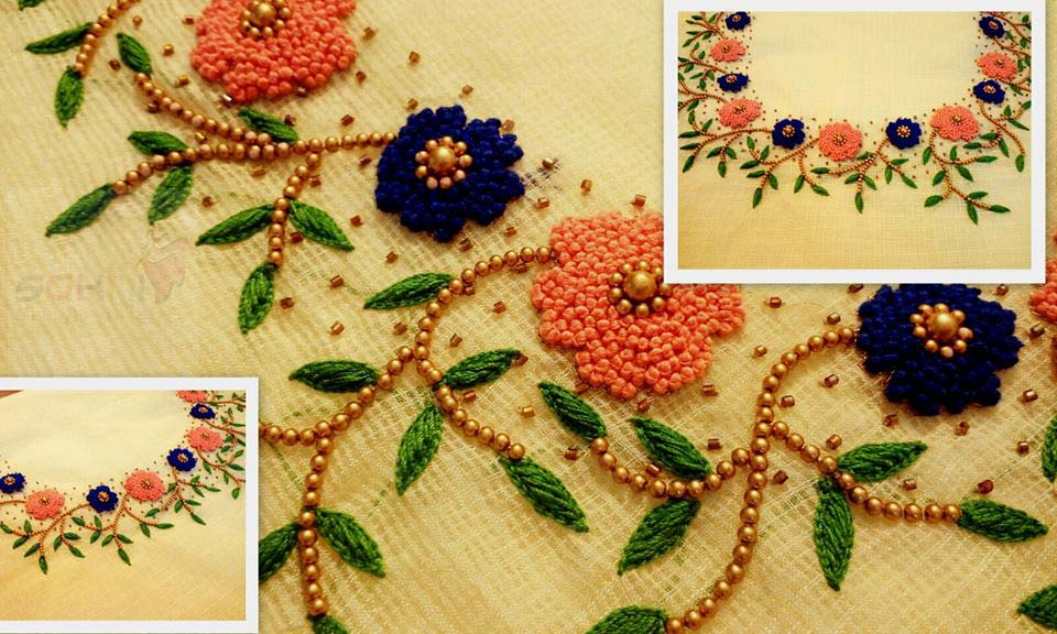 french knot kurthi neck