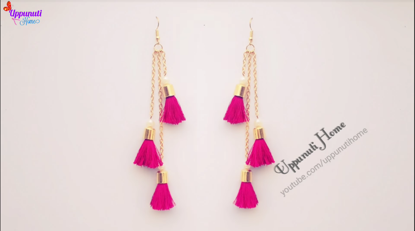 How to make beautiful silk thread tassel earrings1