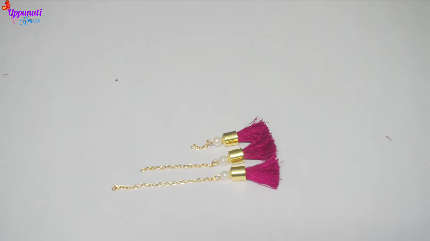 How to make beautiful silk thread tassel earrings14
