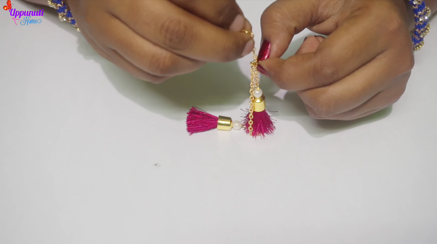 How to make beautiful silk thread tassel earrings15