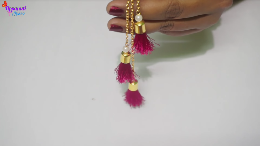 How to make beautiful silk thread tassel earrings16
