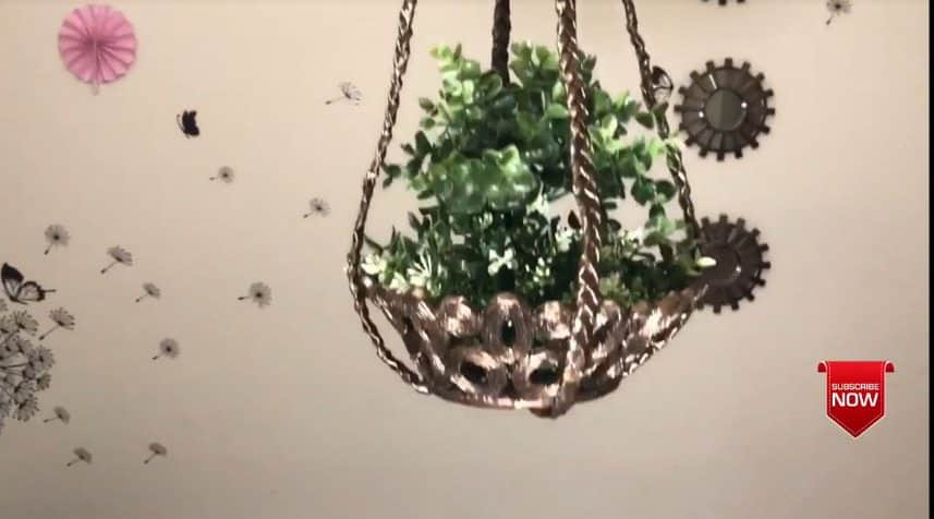 How to make hanging flower basket30