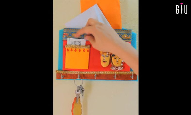 How to make key chain holder for decorating walls using waste material23