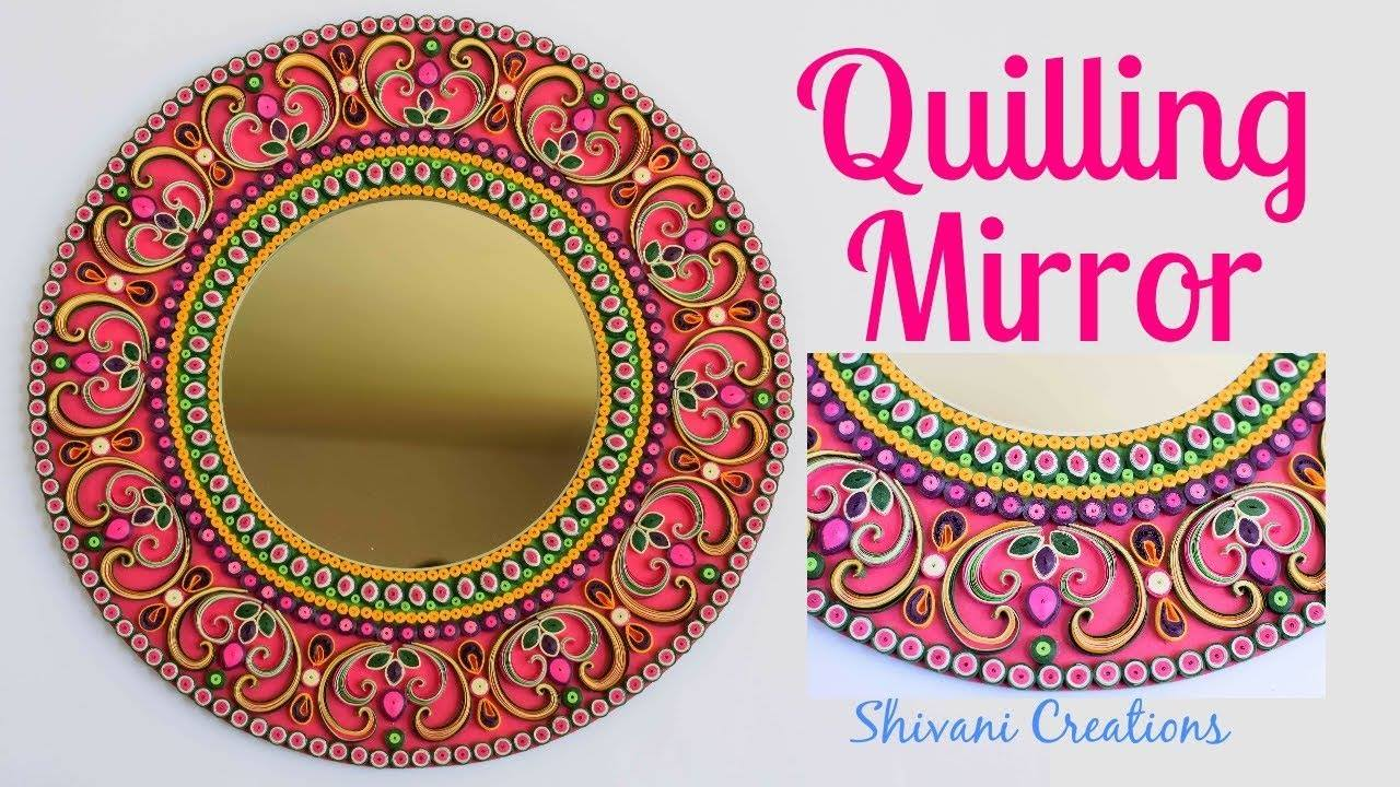 How to make quilling wall mirror1