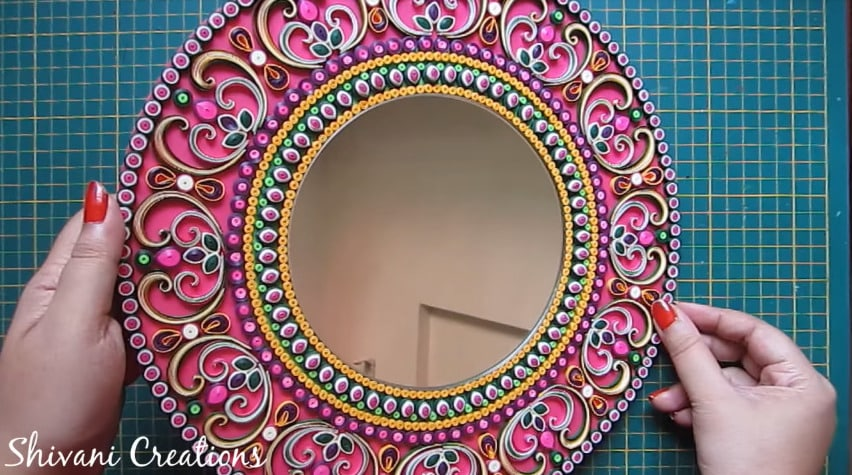 How to make quilling wall mirror35