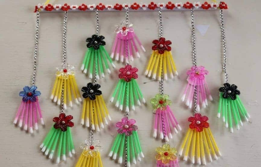 How to make wall hanging using cotton buds13