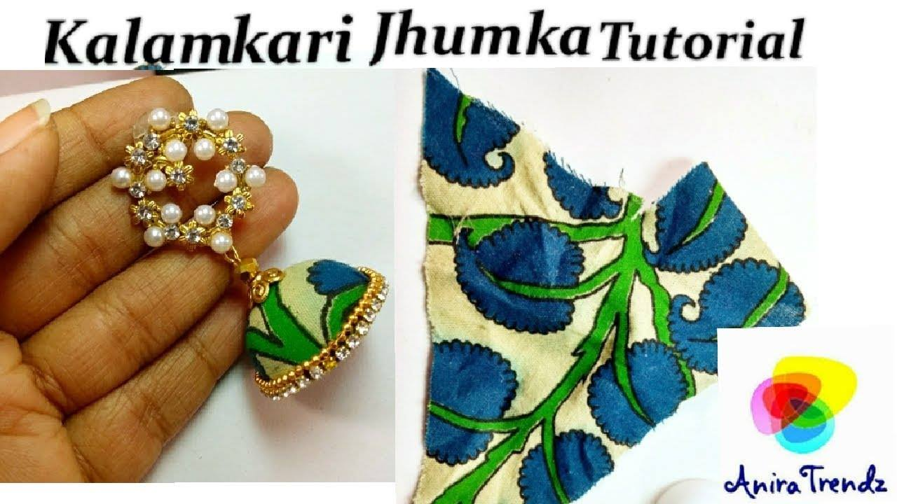 Trendy grand kalamkari jhumka earring tutorial1