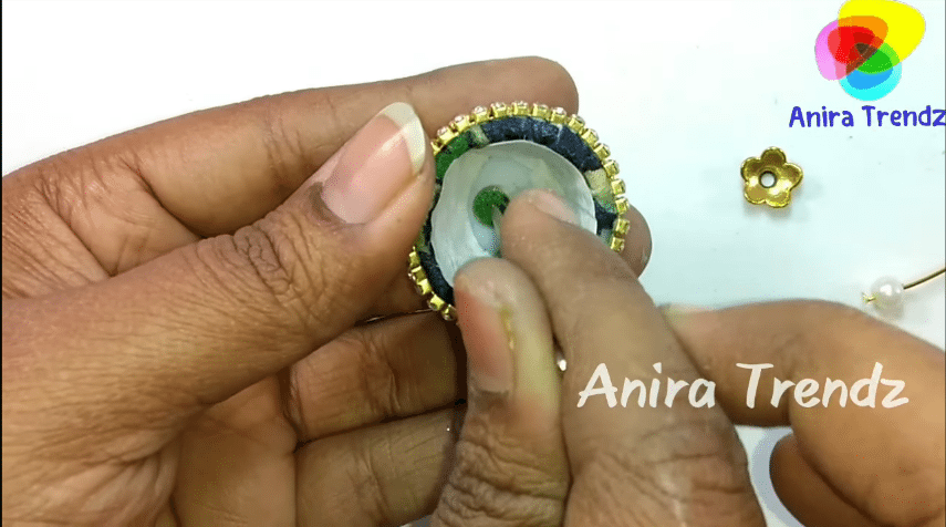 Trendy grand kalamkari jhumka earring tutorial16
