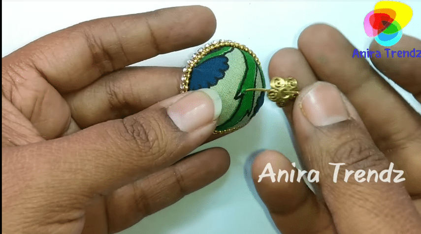 Trendy grand kalamkari jhumka earring tutorial17