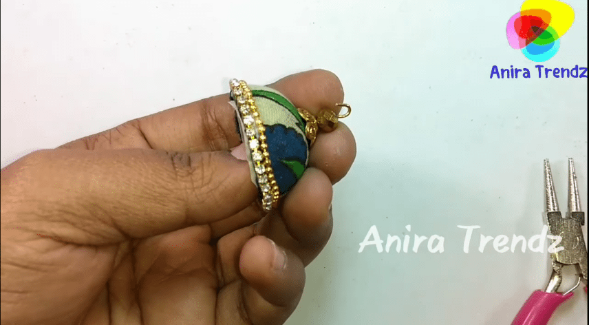Trendy grand kalamkari jhumka earring tutorial19