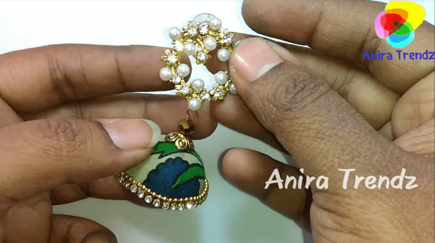Trendy grand kalamkari jhumka earring tutorial20