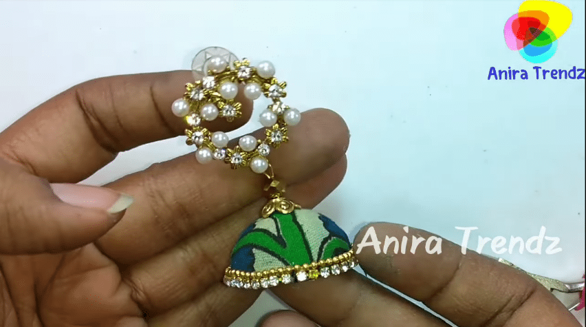 Trendy grand kalamkari jhumka earring tutorial21