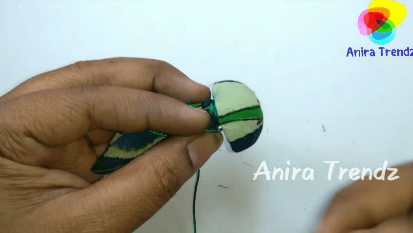 Trendy grand kalamkari jhumka earring tutorial6