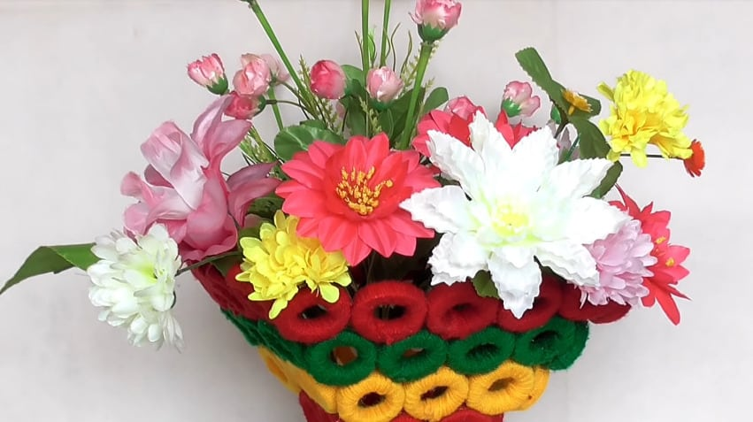 Beautiful decorative flower basket making at home16