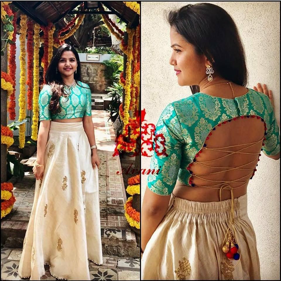 Fancy designer blouse for party wear sarees11