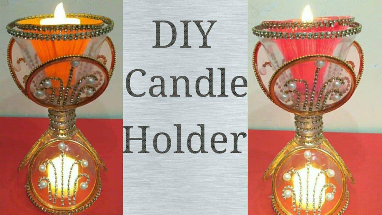 How to make a candle holder from plastic bottle1