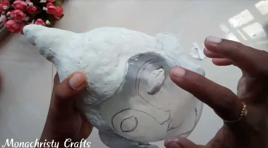 How to make clay mural buddha with plastic bottle11