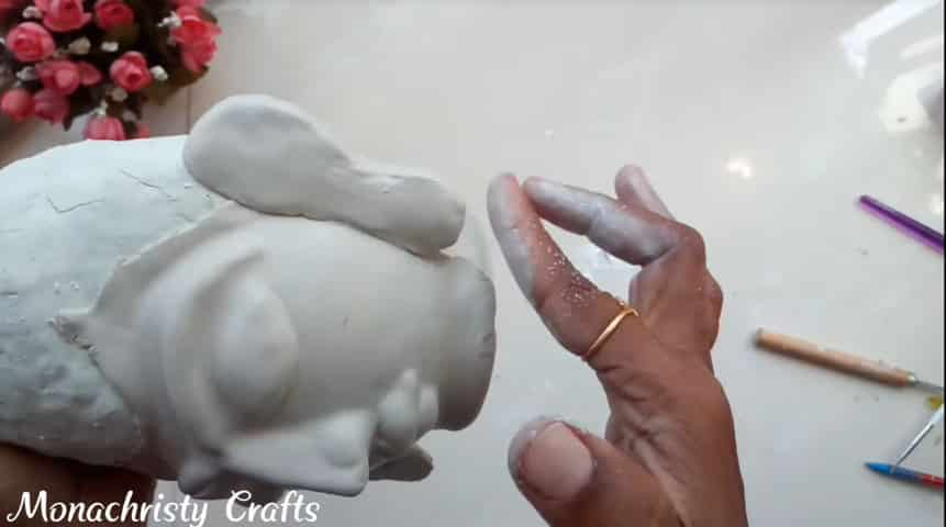How to make clay mural buddha with plastic bottle16