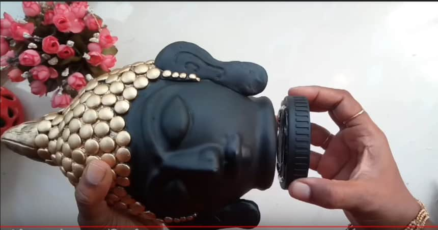 How to make clay mural buddha with plastic bottle22