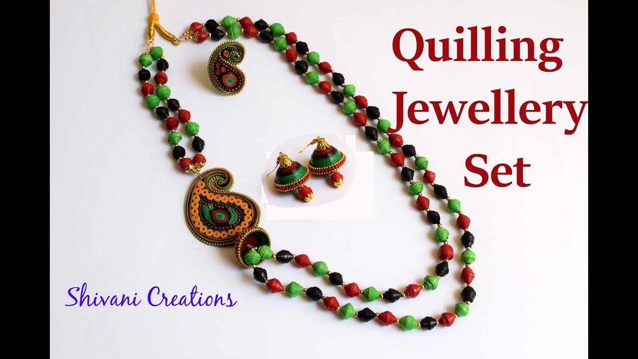 How to make paper quilling necklace set1