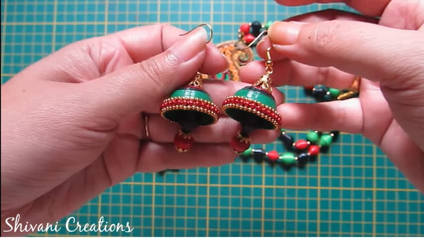 How to make paper quilling necklace set36