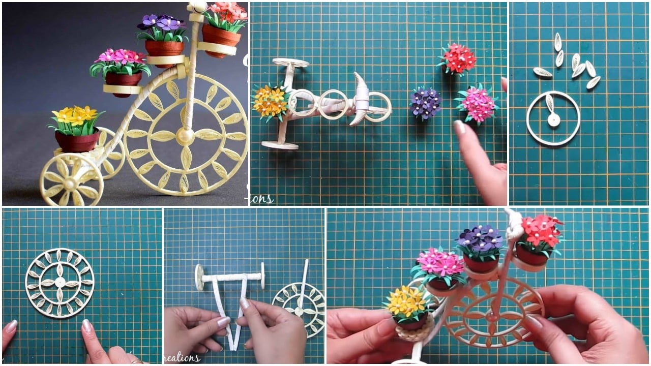 How to make quilled tricycle miniature plant stand