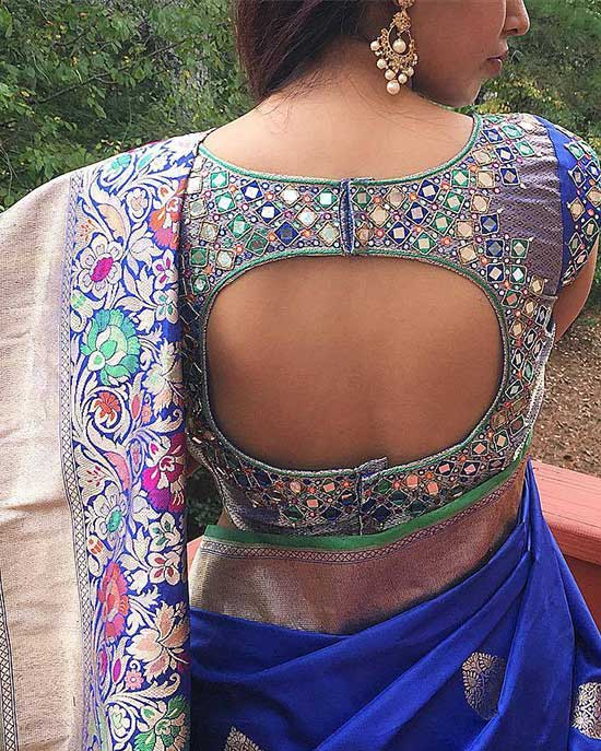 Stylish back hook designs for your Saree blouses11