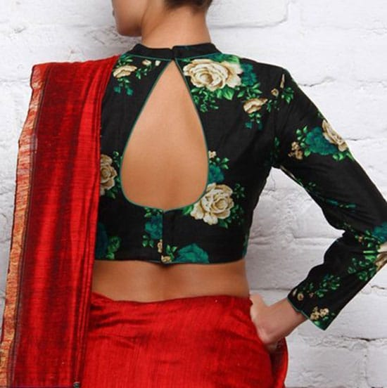 Stylish back hook designs for your Saree blouses12