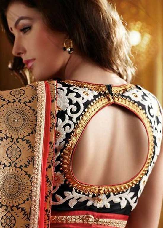 Stylish back hook designs for your Saree blouses13
