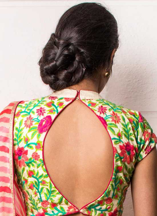 Stylish back hook designs for your Saree blouses15