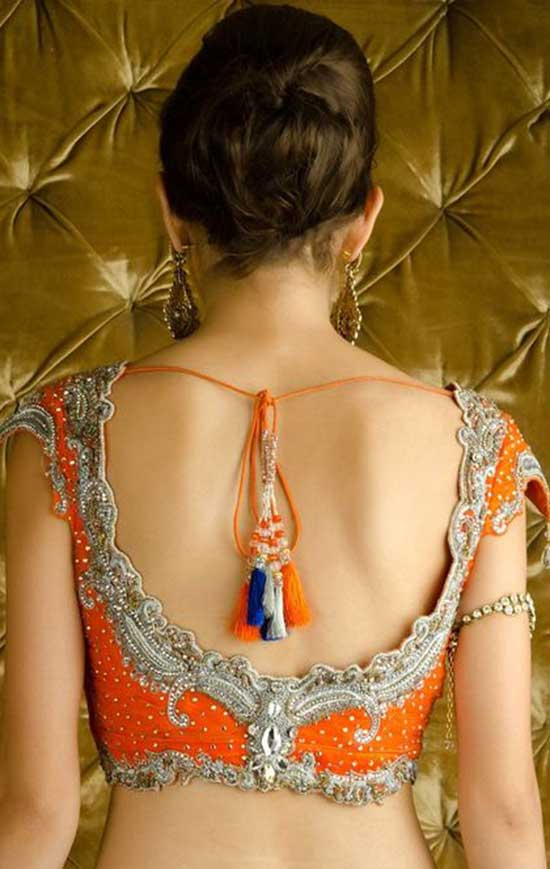 Stylish back hook designs for your Saree blouses3