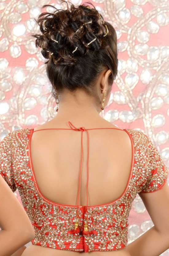 Stylish back hook designs for your Saree blouses7