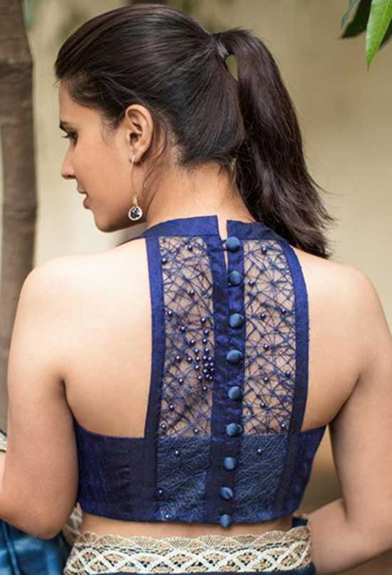 Stylish back hook designs for your Saree blouses8