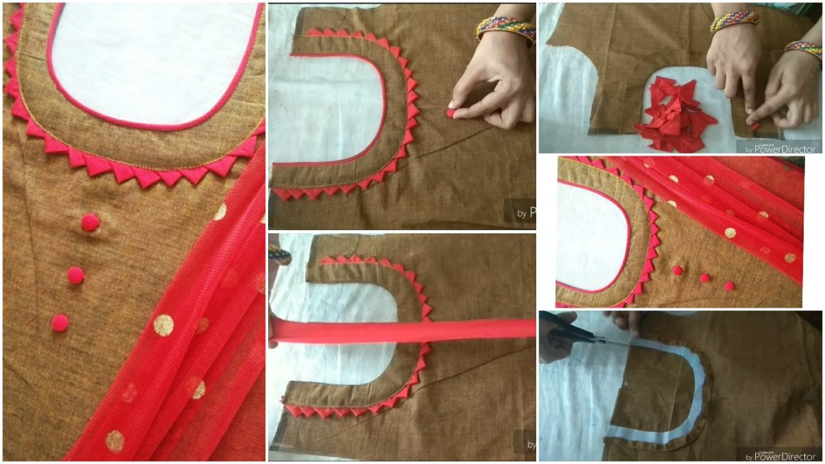 Creative neck design cutting and stitching with fabric button making