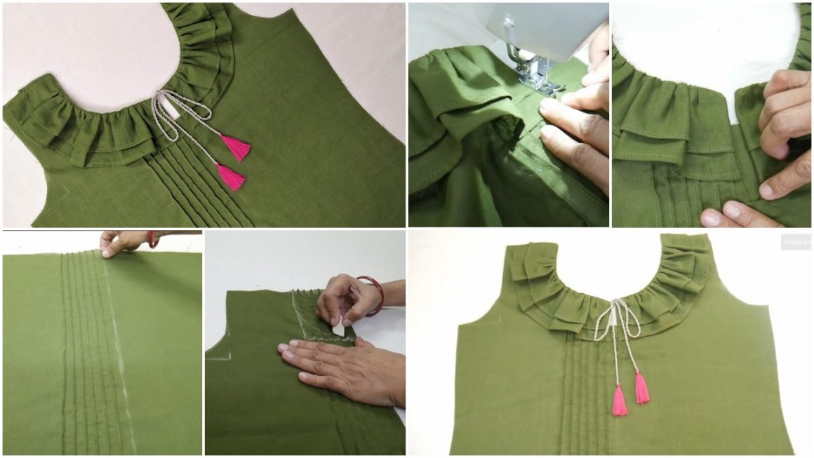 Kurti front design with frill neck design cutting and stitching