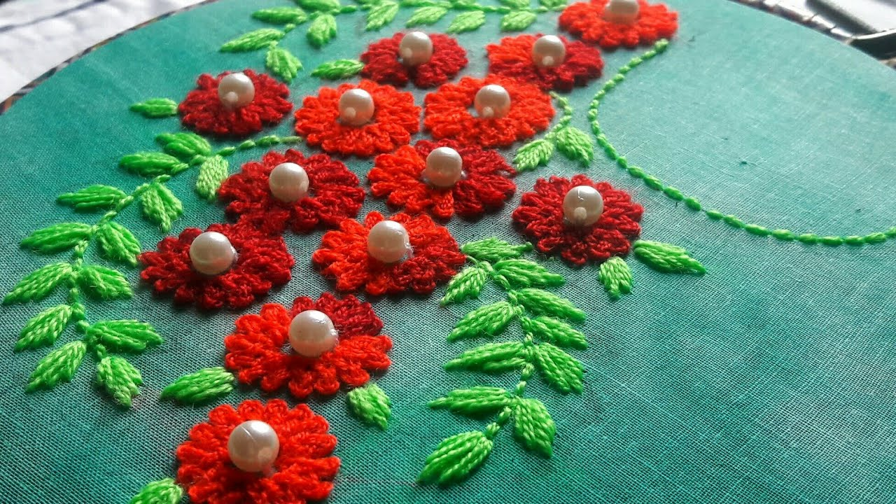 Red Flower Hand Embroidery Design for Kurti