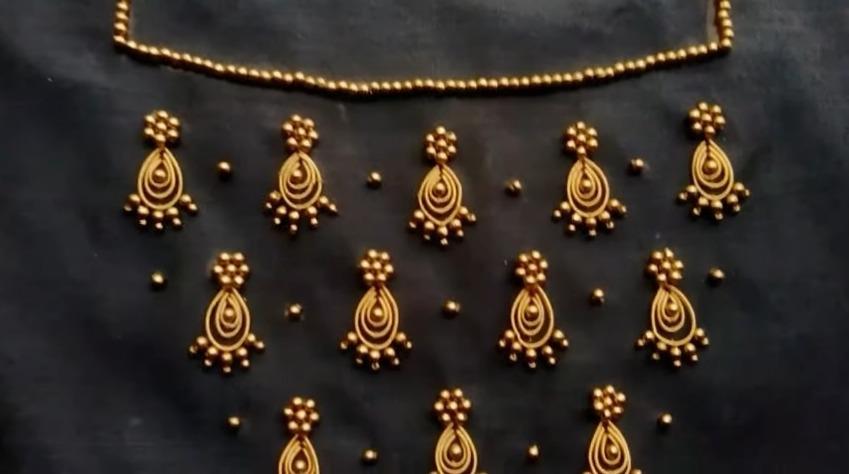 Zardosi work with beads for kurti
