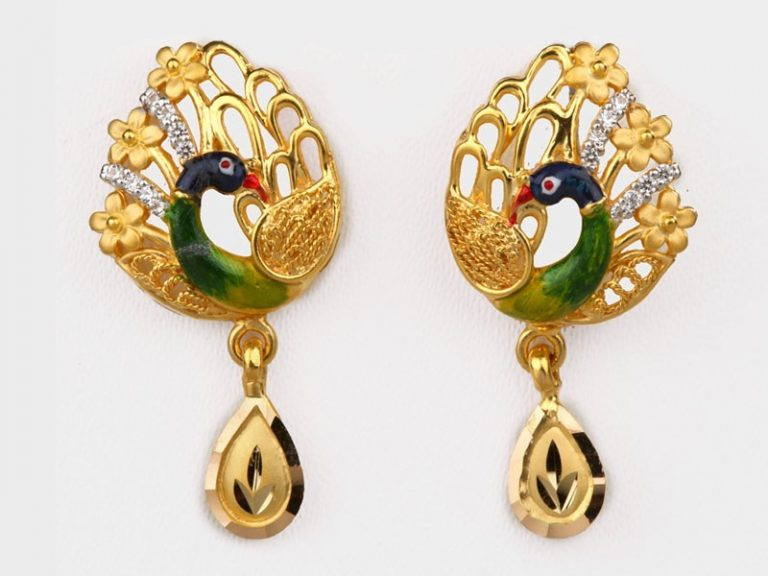 Beautiful Gold Earrings in Peacock Style