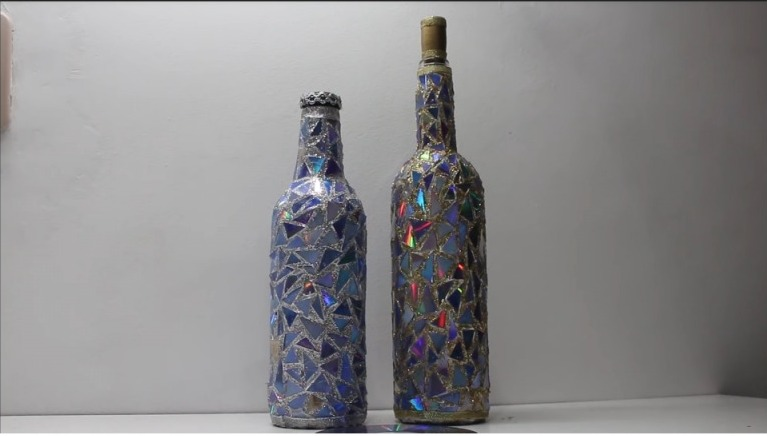 Bottle Decorated in Mosaic Style with CDs