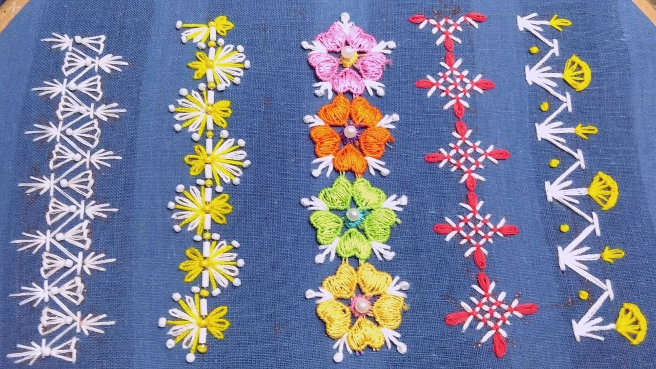 Splendid Hand Embroidery Borderline Design