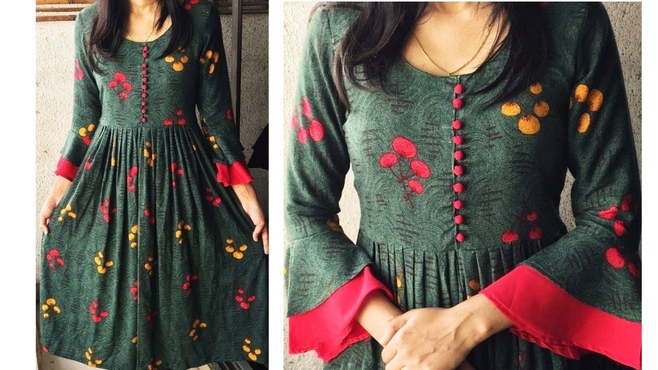 Designer Kurti with Bell Sleeves