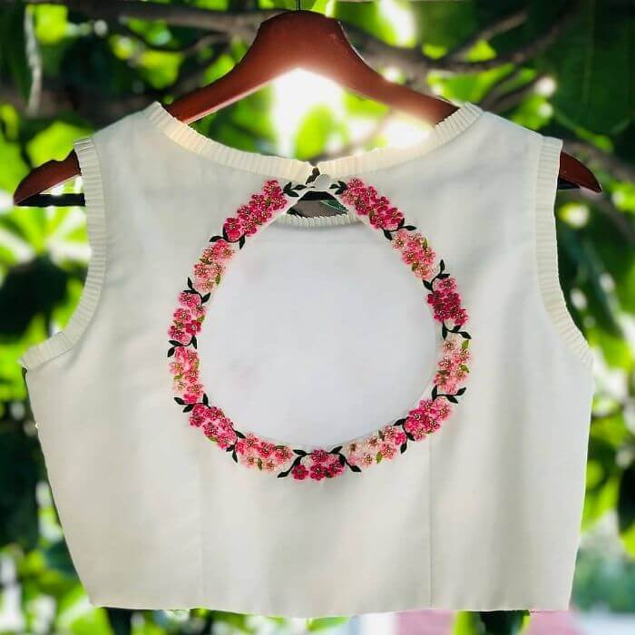 Fancy back side blouse designs