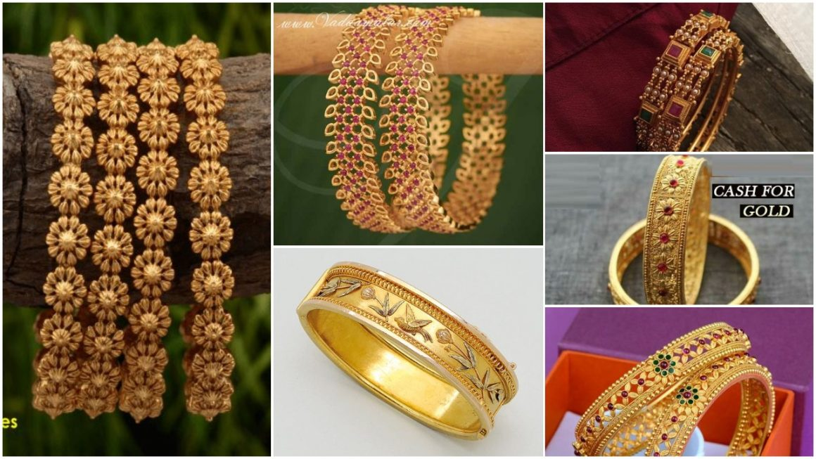 Gold Bangles with Unique Design