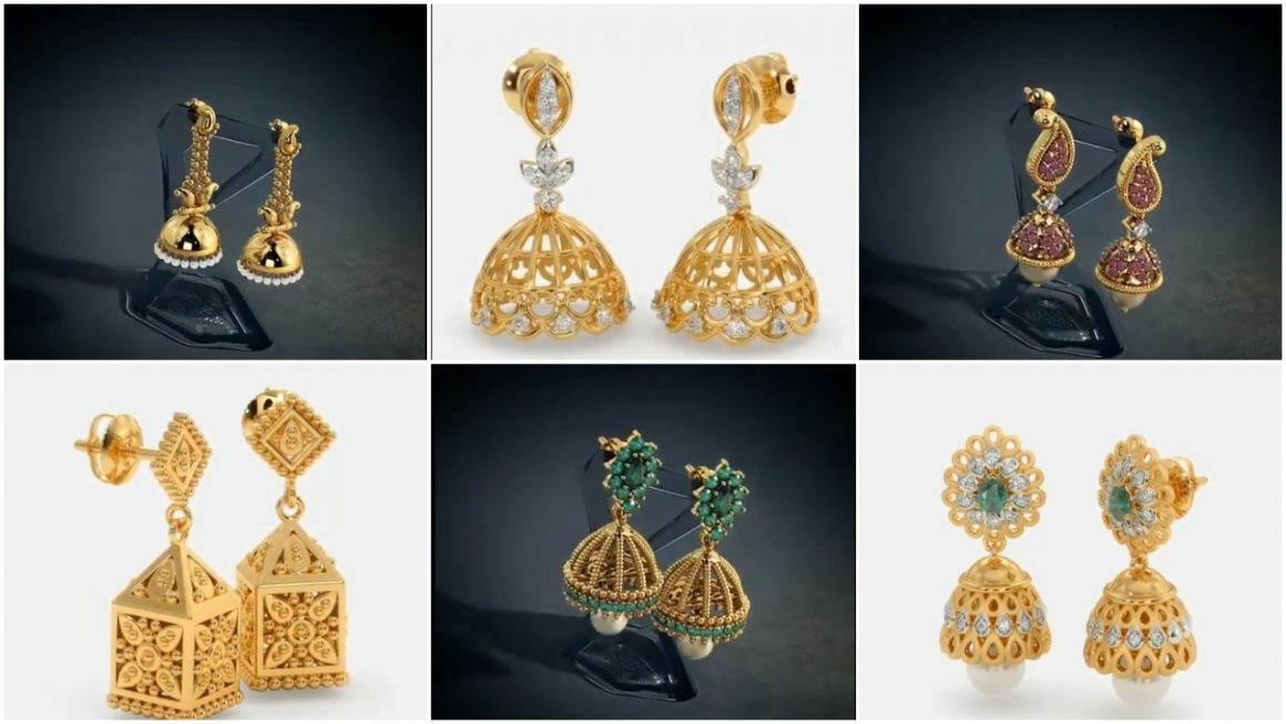South Indian Style Gold Jhumka Designs