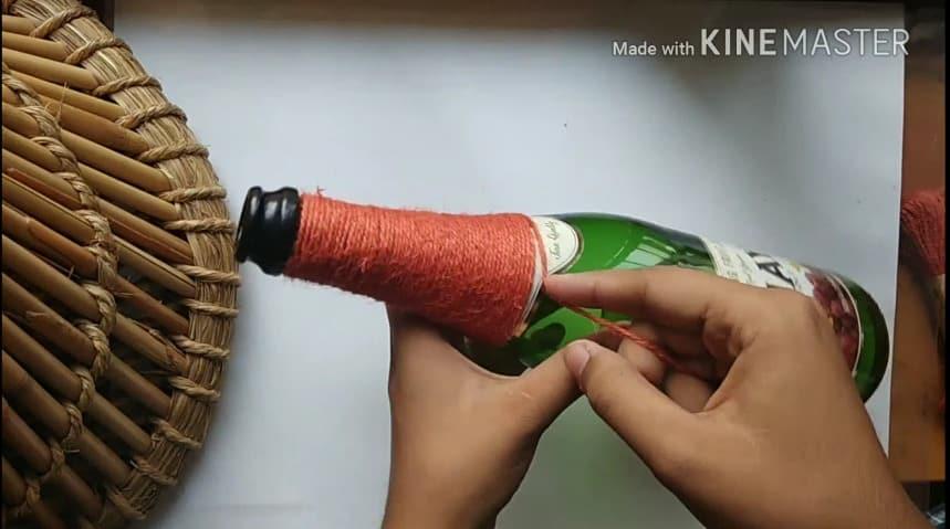 Easy Glass Bottle Decoration Idea