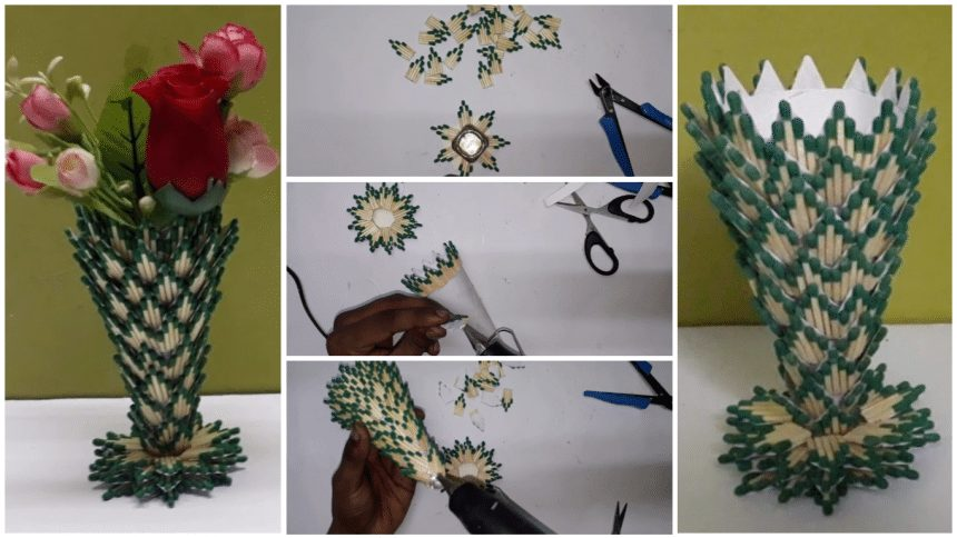 How to Make Flower Vase from Matchstick