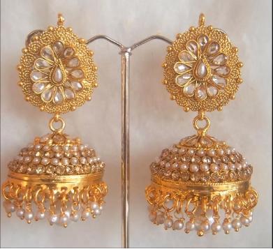 Latest Gold Antique Jhumka Designs