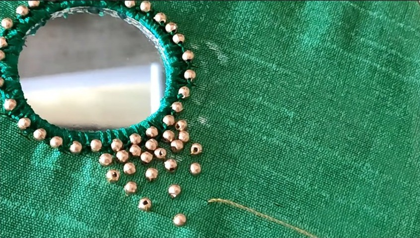 Beads-Mirror Work Using Normal Needle