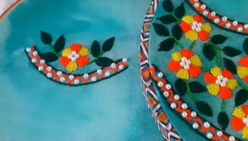 Beautiful Round Neck Embroidery Design