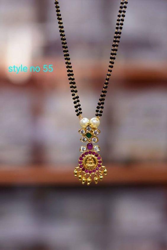 Black Beads Work Mangalsutra Design